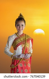 Beautiful Laos girl in costume,Asian woman wearing traditional Laos culture,vintage style,traditional suit.