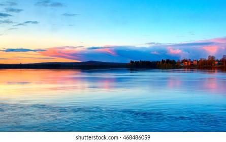 Beautiful Lapland sunset in Rovaniemi, Finland.