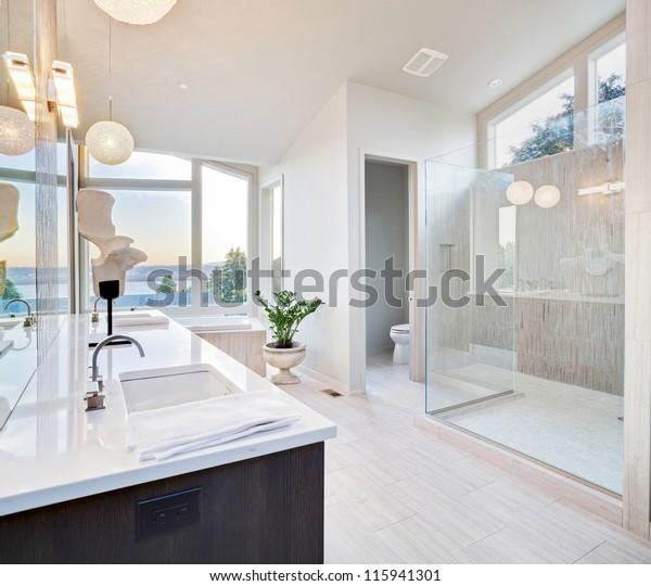 Schönes großes Badezimmer in Luxusheim