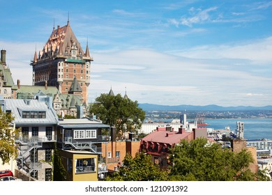 The beautiful large castle in Canada. City Quebec