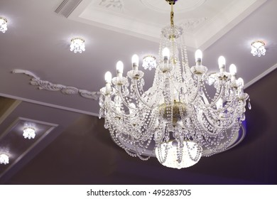 Beautiful large chandelier made of crystal