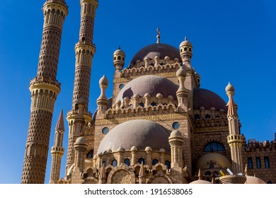 Beautiful large Islamic mosque at the sky background