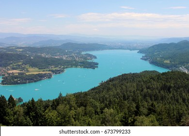 beautiful large lake with turquoise water top view