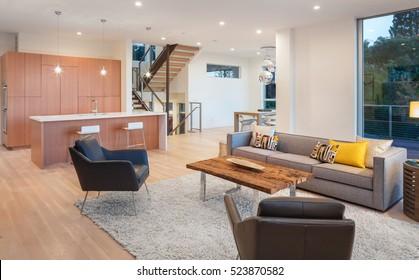Beautiful large living room interior with hardwood floors, fluffy rug and designer furniture.