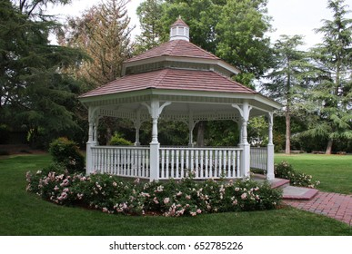 Beautiful large white gazebo surrounded with pink roses in a city park in Pleasant Hill, California.