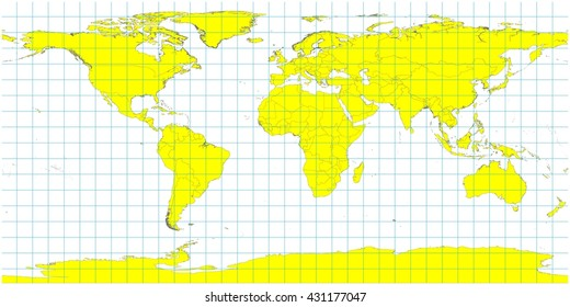 World sphere countries light blue oceans stock illustration beautiful large world map illustration yellow country polygons with no country names grid lines gumiabroncs Gallery