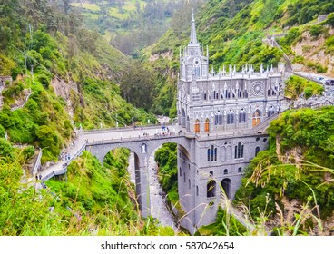 Beautiful Las Lajas Sanctuary in neo-gothic style on the bridge in green gorge near Ipiales in Colombia with selective focus