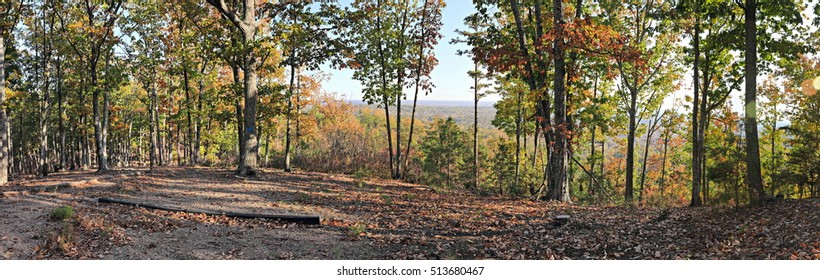 A beautiful late afternoon, November Autumn color  panorama from the summit of Brown's Mountain where the Brown's Mountain hiking trail in Kings Mountain State Park, South Carolina ends.