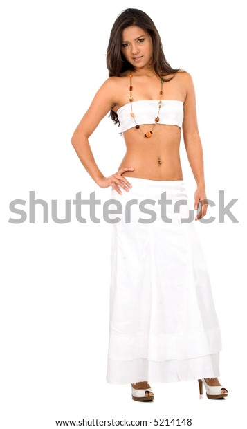 beautiful latin american fashion girl dressed in white - isolated