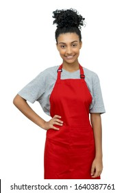 Beautiful latin american waitress with red apron isolated on white background for cut out