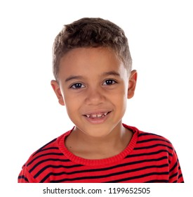 Beautiful latin child with red striped shirt isolated on a white background