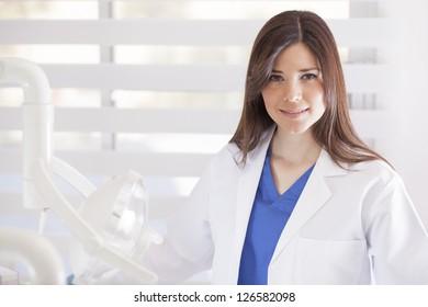 Beautiful latin female doctor at work
