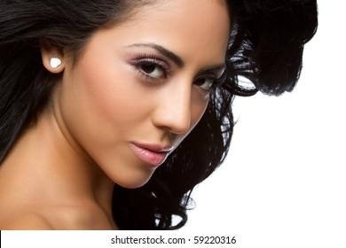 Beautiful latin woman closeup headshot
