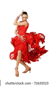 Beautiful Latino dancer in action. isolated on white