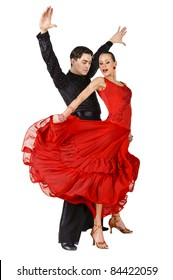 Beautiful Latino dancers in action. Isolated on white