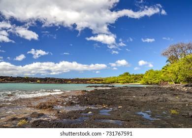 Beautiful lava beach at La Perouse Bay near Makena Beach on the island of Maui, Hawaii. Vast lava fields make La Perouse Bay a famous tourist attraction. Beautiful trees and palm trees on the beach.