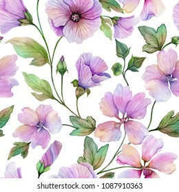 Beautiful lavatera flowers with green leaves against white background. Seamless floral pattern. Watercolor painting. Hand painted illustration. Fabric, wallpaper design.