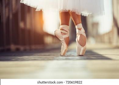 beautiful legs of female classic ballet dancer in pointe