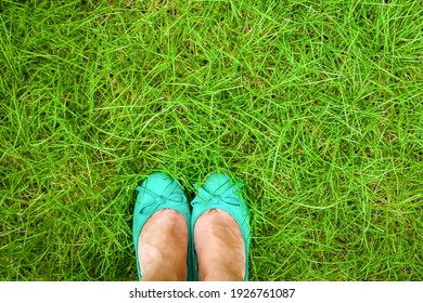 beautiful legs on the grass in the summer park
