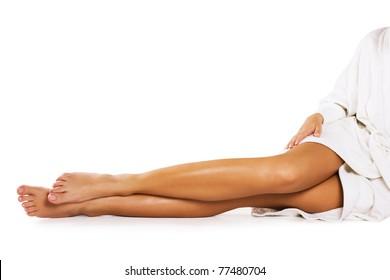 Beautiful legs on white