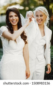 beautiful lesbian woman at the wedding in love getting married concept of marriage