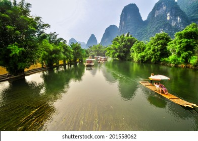 Beautiful Li river bamboo side Karst mountain landscape in Yangshuo Guilin, China