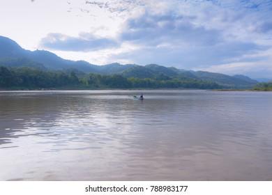 Beautiful life in Khan river, Laos.