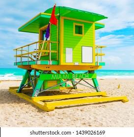 Beautiful lifeguard hut in world famous Miami Beach, USA