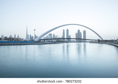 Beautiful light blue sunrise over Dubai Downtown skyline. Dubai, UAE.