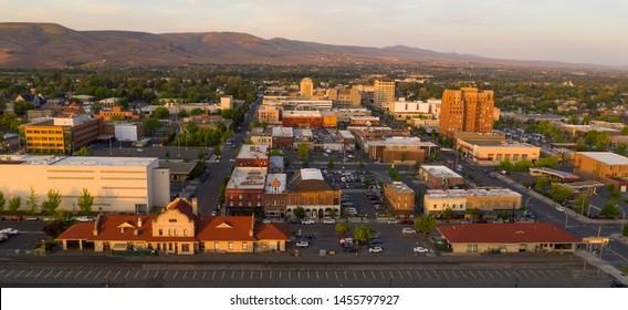 Beautiful light illuminated the downtown urban core city center of Yakima, WA