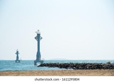 beautiful lighthouse and  blue sea