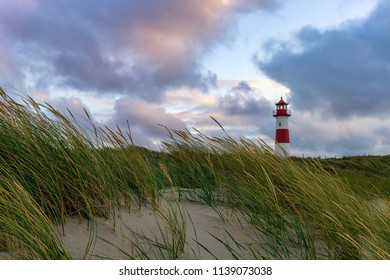 Beautiful Lighthouse List-Ost after sunset - A Lighthouse on the island Sylt, Germany