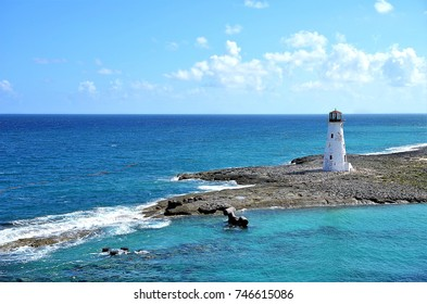 Beautiful lighthouse located at the entrance of Nassau harbor - Bahamas