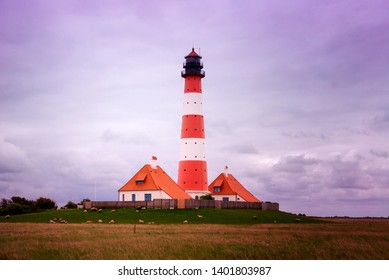 the beautiful lighthouse of westerhever at the northsea