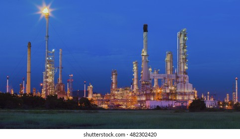 beautiful lighting of oil refinery in petrochemical industryies  estate site thailand