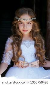 beautiful liittle princess in whitedress