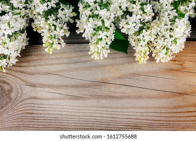 The beautiful lilac on a wooden surface.