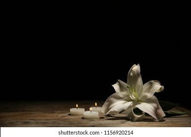 Beautiful lily and burning candles on dark background with space for text. Funeral flower