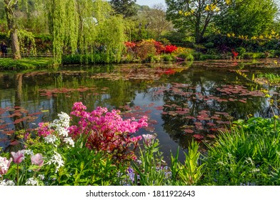 Beautiful lily pond in spring in Claude Monet's garden, flowers and plants reflected in the water. Giverny, France.