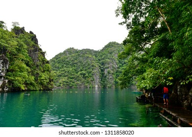 Beautiful limestone features at Kayangan Lake, Coron in Philippines