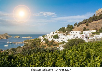 Beautiful Lindos bay and city (Rhodes island)