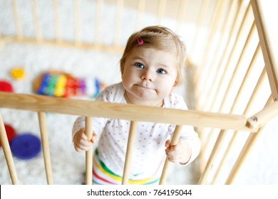 Beautiful little baby girl standing inside playpen. Cute adorable child playing with colorful toys. Home or nursery, safety for kids.