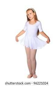 Beautiful Little ballet dancer isolated on a white background