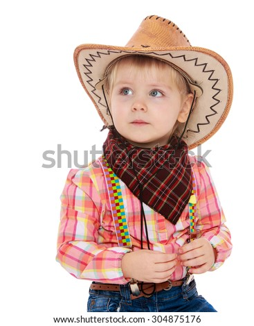 c63a7b27a5145 Beautiful little blonde girl in a cowboy outfit. On the head of the girl  wearing a cowboy hat and cowboy handkerchief. Closeup-Isolated on white  background ...