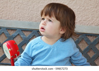 The beautiful little boy  in blue sweater sits on a garden bench with a red rattle in a hand