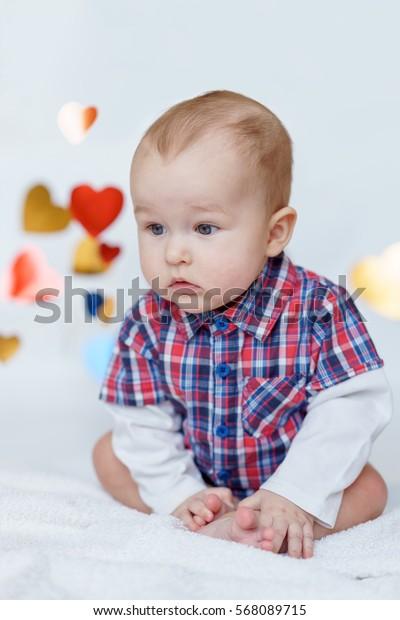 beautiful little boy . Series of photos