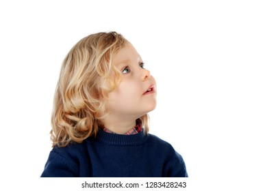 Beautiful little child looking up isolated on a white background