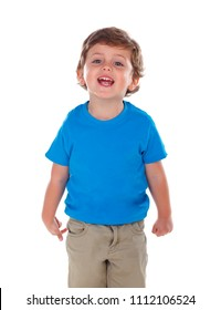 Beautiful little child three years old wearing blue t-shirt solated on white background