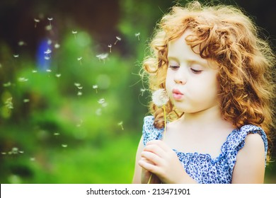 Beautiful little curly girl blowing dandelion, horizontal shot.