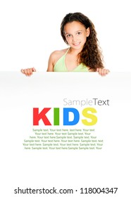 Beautiful little girl against a white blank with sample text